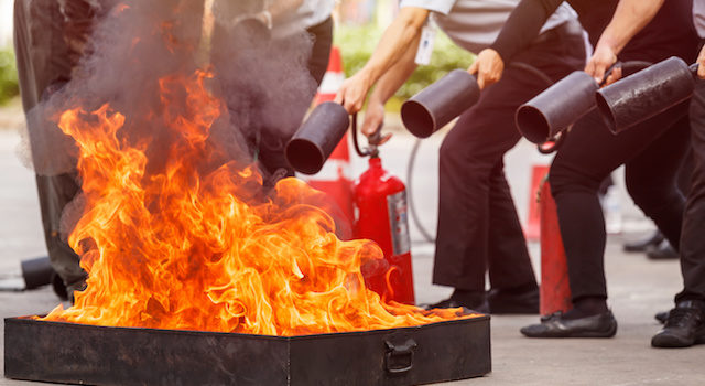 People in the conflagration preventive extinguisher training program, Safety concept